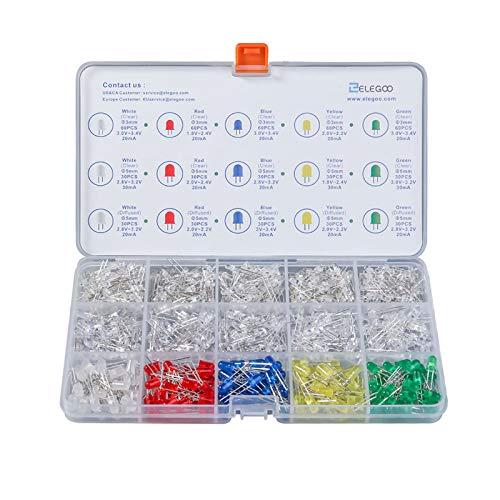 Elegoo 3mm 5mm Diffus und klar Sortiert LED Kit 5 Farben für Arduino (600er Set)