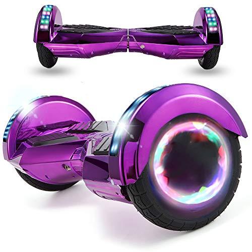Magic Vida Patinete Eléctrico Overboard 8 Pulgadas,Motor de 700W,Batería 4.4AH,Altavoz de música Bluetooth,Auto-Equilibrio,Luz LED,Scooter Electrico para Niños y Adultos(Cromo púrpura)