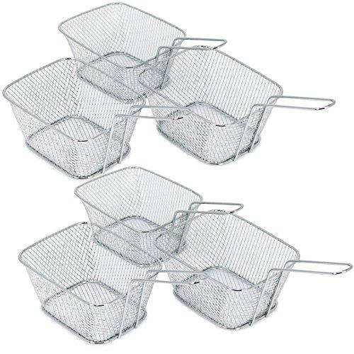 com-four® 6x Mini Korb zum Servieren von Pommes und anderen Snacks, Servierkorb, 14 x 11 x 7 cm (Korb - 06 Stück)