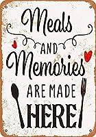 食事と思い出はここで作られます 金属板ブリキ看板警告サイン注意サイン表示パネル情報サイン金属安全サイン