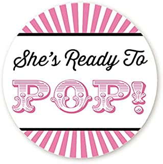 Circus Themed Ready to Pop Stickers | 48 Stickers | Ready To Pop Baby Shower Stickers for Popcorn | 1.67 Inches | Ready to Pop Stickers for Boy or Girl (Pink)