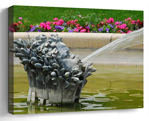 Wall Art Canvas Print Photo Artwork Home Decor (24x16 inches)- Fountain Water Paris French France Park Spra