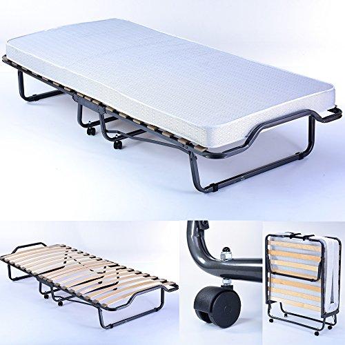 PROHEIM Gästebett Premium 90 x 200 cm klappbar Stabiler Metall-Rahmen + Matratze + Holz-Lattenrost Metall-Bett mit Rollen Klapp-Bett bis 100 kg belastbar