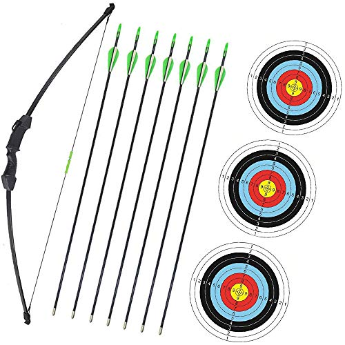 Wolf Archery 45  Youth Archery Bow and Arrow Set for Kids,Teens,Beginner Practice Outdoor Sports Game Toy Gift Recurve Bow Kit Set with 7 Arrows 18Lb (Black)