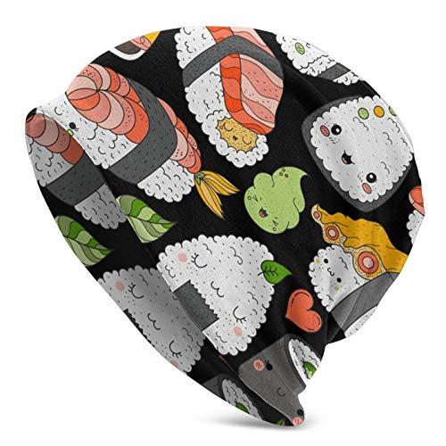 Qian Mu888 Kawaii Sushi en la cama Casual Invierno Gorro de punto Sombreros de Hombre y Mujer Diario Beanie Sombreros
