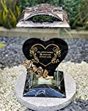 Grablampe Handmade NEU Herz Motiv mit Rose und Beschriftung - 32 cm - Grablicht Grabkerze...