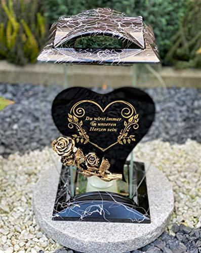 Grablampe Handmade NEU Herz Motiv mit Rose und Beschriftung - 32 cm - Grablicht Grabkerze Grabdekoration Grabschmuck Gartenlampe incl.Grabkerze