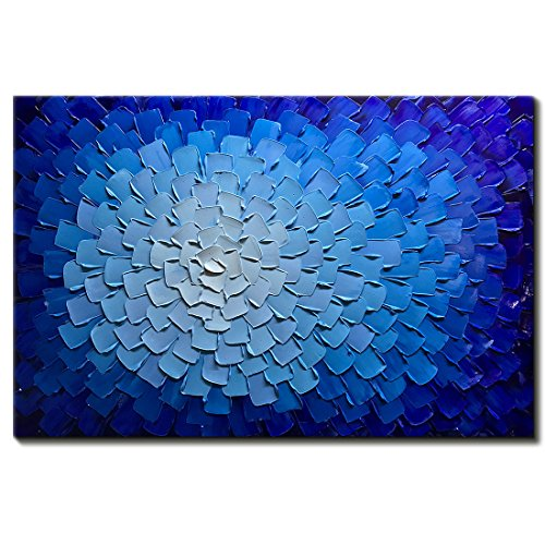 Desihum-Oil Paintings Modern Framed Art 3D Hand Painted Artwork Abstract Blue Flowers Pictures on Canvas Wall Art Ready to Hang for Living Room Bedroom Home Decor (24'x36')