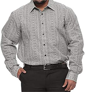 Synrgy Big and Tall Print Long Sleeve Cotton Dress Shirt for Men