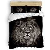 danhongi King Duvet Cover Set 4 Pieces Bed Sheet Sets,Cool 3D Lion Face Animal Pattern Black and White Bedding Set for Women Men,Include 1 Duvet Cover 1 Bed Sheets 2 Pillowcases