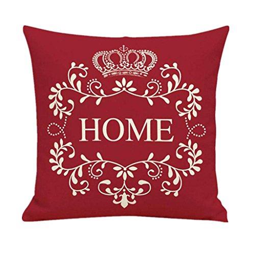 Vovotrade Housse de Coussin Sofa Home library Decor avec Lettre et Couronne HOME (Rouge)