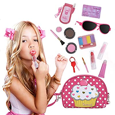 Beverly Hills Doll Collection All-in-One Pretend Play Purse and Makeup Beauty Set with Polka Dotted Shoulder Bag and 13 Accessories from Supportiback