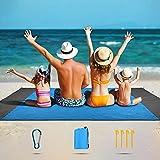 SKYSPER Alfombras de Playa 210 x 200 cm Manta de Picnic Impermeable con 5 Estacas Manta de Playa Plegable Portátil Ligero Impermeable para Playa Acampar Picnic Viajes Senderismo al Aire Libre