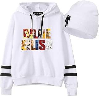 Unisex Billie Eilish Hoodie with Beanie Knit Hat 2 Piece Set Stretchy Cap Long Sleeve Sweatshirt