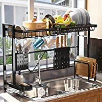 Sayzh Width Adjustable Over The Sink Dish Drying Rack (Stainless Steel)