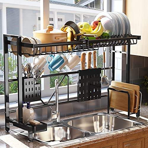 Over The Sink Dish Drying Rack, SAYZH Width Adjustable( Fit Small and Large Sink Size from 22 inches to 36 inches ) Stainless Steel Kitchen Drainer Countertop Organizer, Black