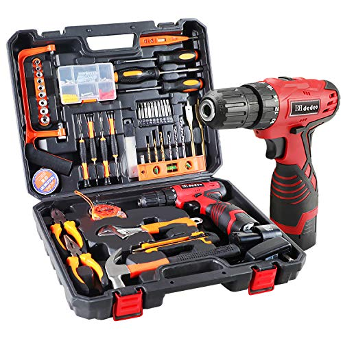 Dedeo 16.8V Cordless Drill Driver Tool Kit, Power Tools Combo Kit 108-Piece Household Tool Kit Set