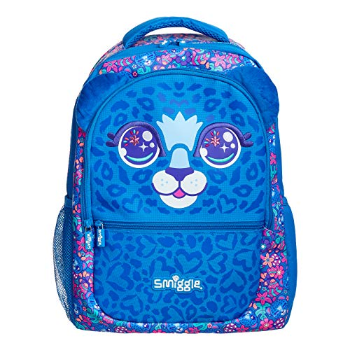 Smiggle Budz Kids School Backpack for Boys & Girls with Laptop Compartment & Dual Drink Bottle Sleeves | Leopard Print