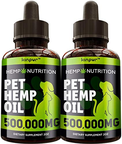 (2 Pack) Hemp Oil for Dogs and Cats - 500,000 - Calming Mood, Anxiety, Stress Relief - Hip and Joint Support - Natural Pet Hemp Oil - Calming Treats for Dogs- Made in the Usa - Omega 3, 6, 9