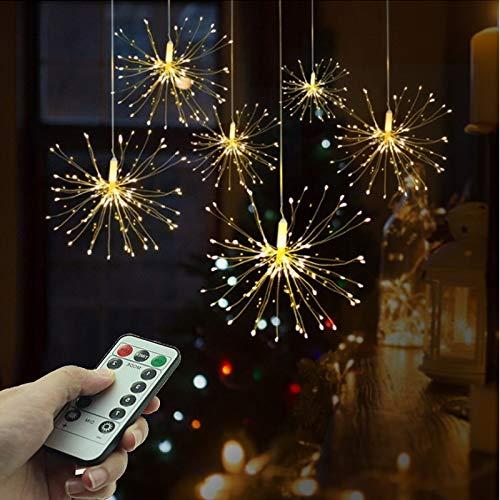 LED-Feuerwerk beleuchtet Fee-Schnur-Licht DIY Weihnachtsdekoration Lichter 8 Modi von dimmbaren Leuchten und Haushalt Fernbedienung Kupferdraht Deko Licht A