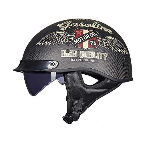 Casco De Motocicleta, Medio Casco Retro Harley Casco Jet De Motocicleta, Material De Fibra De Carbono Cruiser Chopper Scooter Casco De Seguridad Aprobado por Dot/ECE ✅