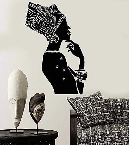 WERWN Vinilo de Pared Belleza Africana Estilo étnico Decoración de Pared Negra Diseño de Pared