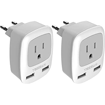 European Plug Adapter 2 Pack, TESSAN International Travel Power Outlet Adaptor with 2 USB, Charger from USA to Most of Europe EU Spain Iceland Germany France Italy Israel (Type C)