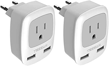 European Plug Adapter 2 Pack, TESSAN International Travel Power Outlet Adaptor with 2 USB, Type C Charger from USA to Most...