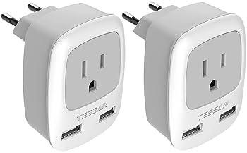 New EU Euro Europe to US USA Power Jack Wall Plug Converter Travel Adapter TDYT