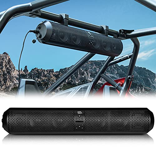 """Kemimoto UTV Sound Bar Audio System 28 Inch Wide 500W IPX5 Waterproof 6 Bluetooth Speakers Amplifier SxS Sound System with 3.5mm Aux Input 1.56""""-2.25"""" Mounting Clamps"""