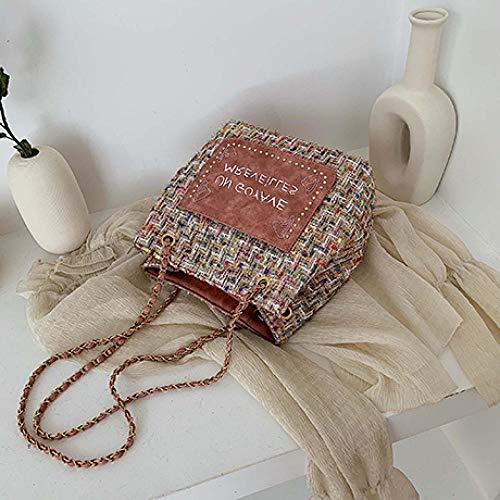 Générique Sacs Femme Sacs Grande Besace Seau Bandoulière Messenger Bag Wild Ins Fashion-Pink