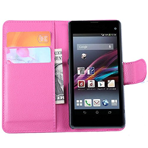Ycloud Tasche für Sony Xperia Z1 Compact (4.3 Zoll) Hülle, PU Ledertasche Flip Cover Wallet Hülle Handyhülle mit Stand Function Credit Card Slots Bookstyle Purse Design Rose Red