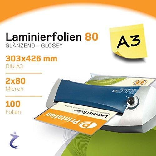 100 Stück A3 Laminierfolien 426 x 303mm 2x 80 mic, Hochglanz Glossy Printation Premium Laminiertaschen/Laminierfolientaschen/Laminating Pouches