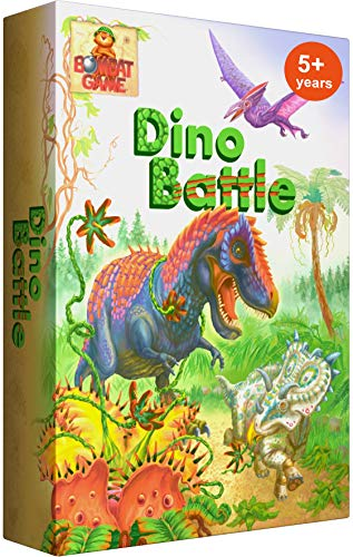 Dino Battle - Exciting Dinosaur Games of Logic and Fun for Kids Ages 5 and Up. Award Winning Family Board Game for 2-4 Players. Build a Row of Creatures Fastest. Magnetic. Boosts Strategy, Creativity