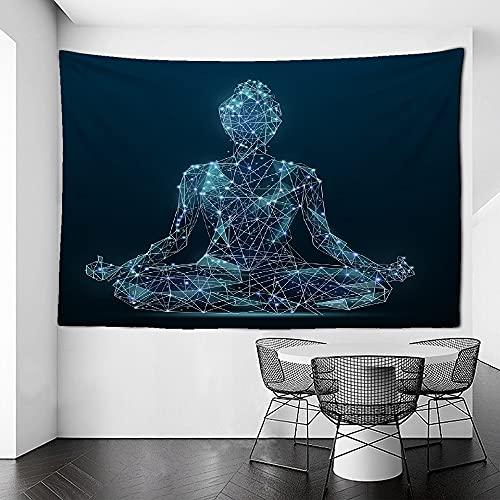 KHKJ Tapiz de Chakra de meditación de Yoga Mandala Hippie Tapiz de Encaje Colgante de Pared Tapiz psicodélico Decorativo Bohemio A3 200x150cm