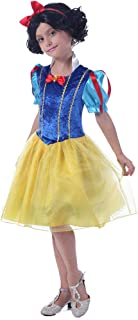 Girls Fairy Tales Princess Costume - Kids Classic Fancy Storybook Dress with Head Band for Halloween Cosplay Party
