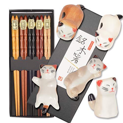 Chopsticks and Chopstick Holder, Cat Chopstick Holder | Japanese Style Chopsticks | Lucky Cat Chopsticks Rest Holder 5 Cats | Lucky Cat Chopsticks, Japanese Chopstick with Lucky Cat Rest (brown)