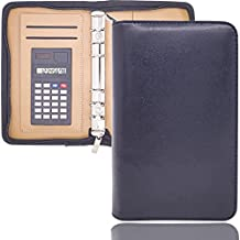 Mini Binder Leather Personal Planner Binder A5 or A6 NoAtebook 6 Ring Small Binder for Budget Cash Envelopes Organizer, Perfect for Hold Cards Cash Budget Planner and Coupon(Chic Leopard, A6)