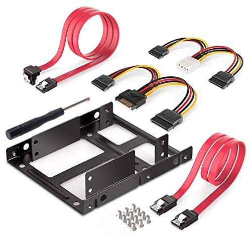 BiaBai 2X 2.5 Inch SSD To 3.5 Inch Internal Hard Disk Drive Mounting Kit Bracket With SATA Data Cables And Power Cables