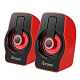 Computer Speakers,Reccazr SP2070 Desktop Speakers with Stereo Sound, LED Night Light Stereo Speakers, 2.0 Channel USB Powered Surround Sound Speakers for Laptop/PC/Smart Phone
