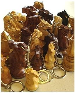 Wood Knight Keychain Key Ring