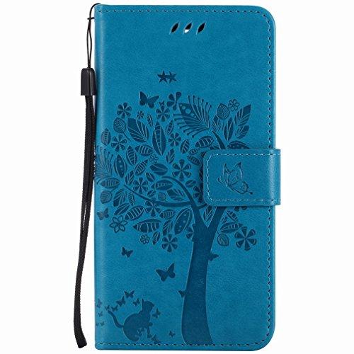 Yiizy Handyhülle für Microsoft Lumia 950 Hülle, Baum-Muster Entwurf PU Ledertasche Beutel Tasche Leder Haut Schale Skin Schutzhülle Cover Stehen Kartenhalter Stil Schutz (Blau)