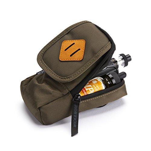 Vape-Tasche für Reisen - Sicher, Geordnet, Premium Vape-Etui - Passend für alle mechanischen Box Mods, Liquids, Batterie, Tank-Halter & Zubehör - Wick and Wire (Primo Grün/Wildleder)