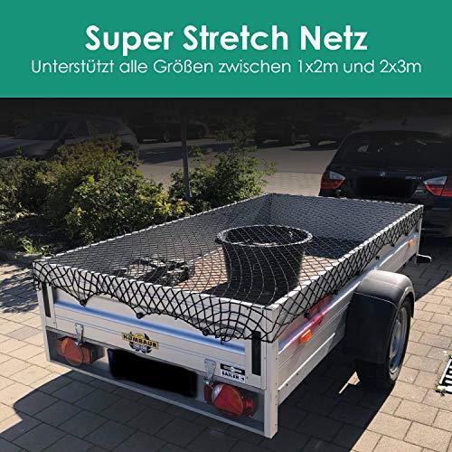 FIXKIT Flexibles Anhängernetz zur Befestigung von 100 cm x 200 cm, 200 x 300 cm Anhänger,Container, Kofferraum und Dach (schwarz)