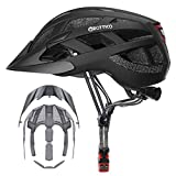 Adult-Men-Women Bike Helmet with Light - Mountain Road Bicycle Helmet with Replacement Pads & Detachable Visor