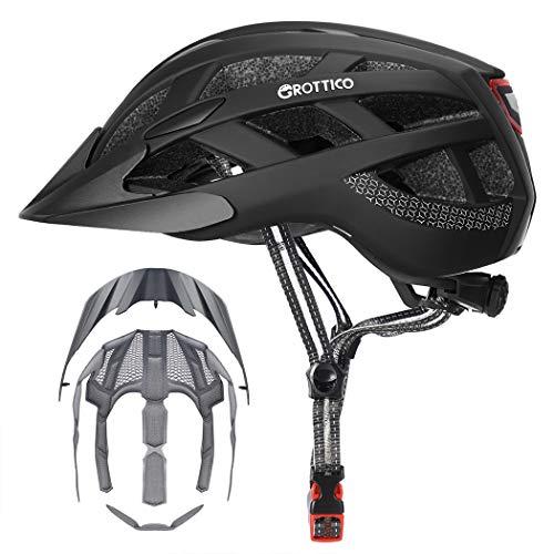 Adult-Men-Women Bike Helmet with Light - Mountain Road Bicycle Helmet with Replacement Pads & Detachable Visor (Matte Black, M(21.6-22.8 in/55-58cm))