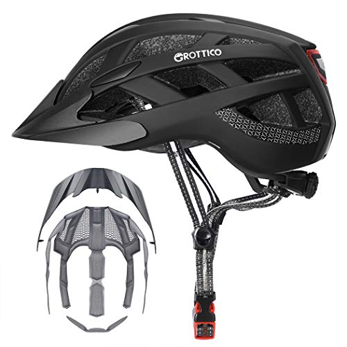 GROTTICO AdultMenWomen Bike Helmet with Light  Mountain Road Bicycle Helmet with Replacement Pads amp Detachable Visor