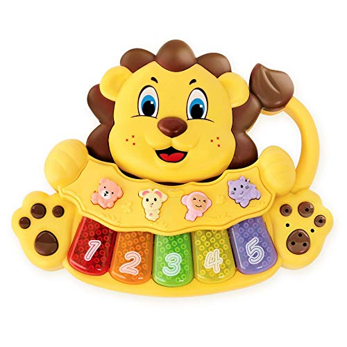 S&C Adorable Lion Baby Piano Toy - 5 Different Numbered and Colored Keys That Light Up - Touch and Teach Piano Keyboard for Kids w/ 3 Play Modes Toy Piano for Toddlers 18+ Months Old