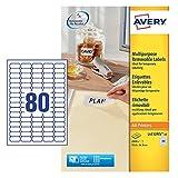 Avery L4732REV-25 Etichette Rimovibili, 80 Pezzi per Foglio, 25 Fogli, 35.6 x 16.9, Bianco