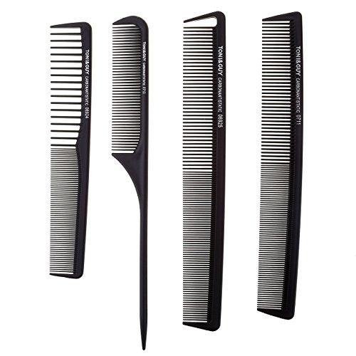 Ayliss® Set 4PCS Peigne Plastique Noir Antistatique pour Salon Coiffure Barbier Cheveux Cosmetique Professionnel